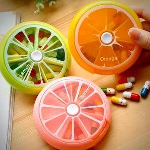 Green Lemon / Lime Pill Organizer / Vitamin Box